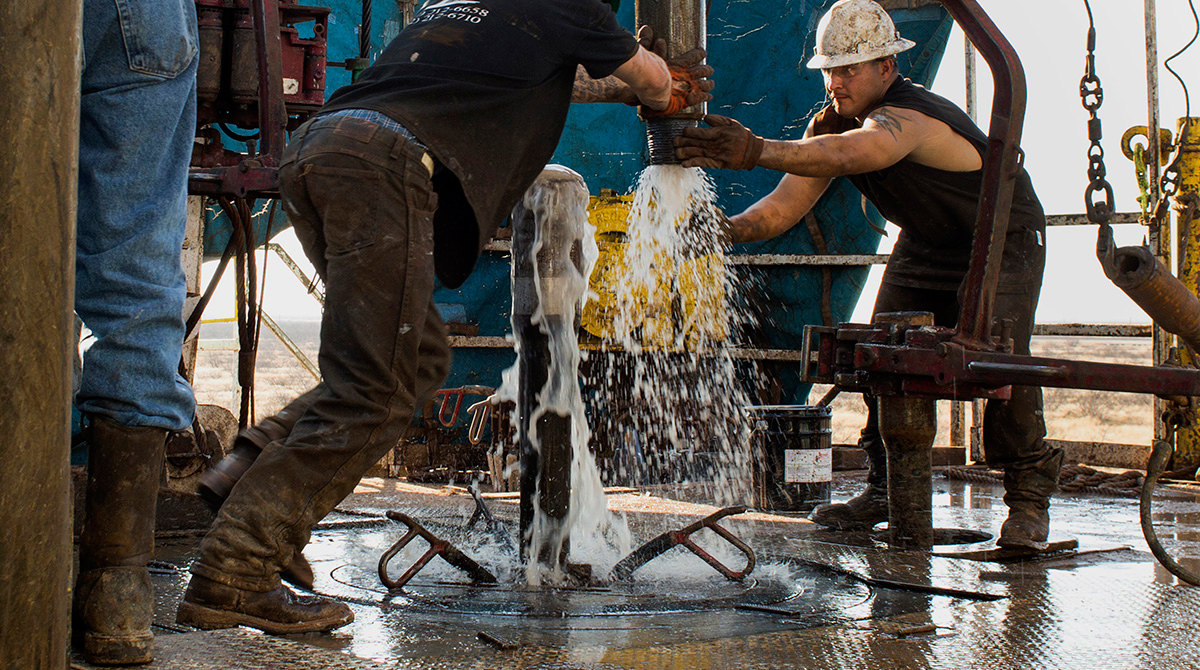 Oil Workers Drilling Shale