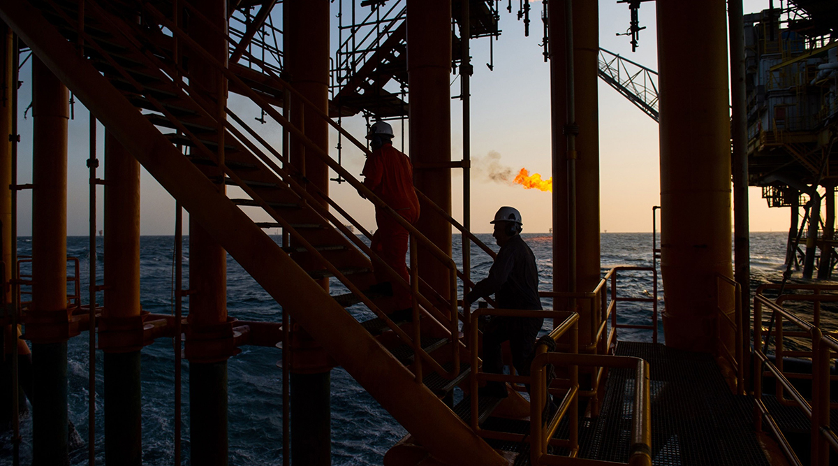 Workers on an oil platform