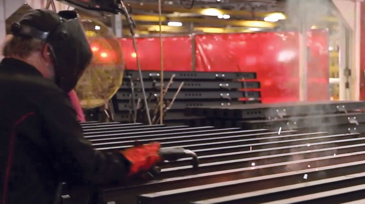 Welder at a Wabash Trailers manufacturing plant