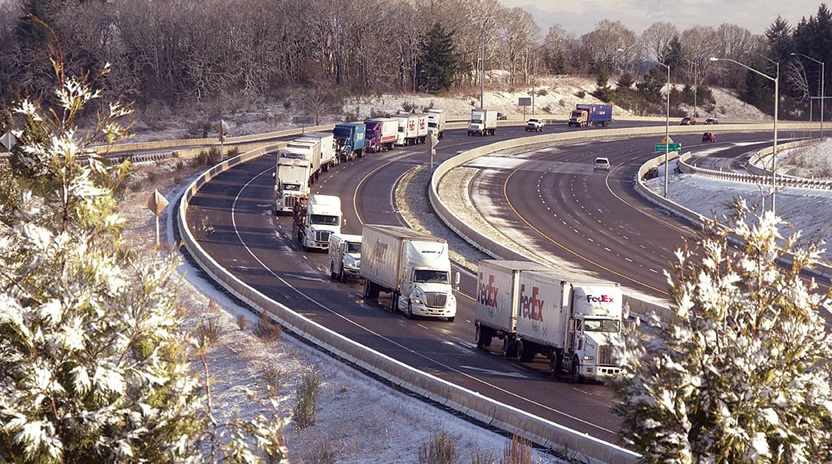 Trucks on I-5 in Oregon