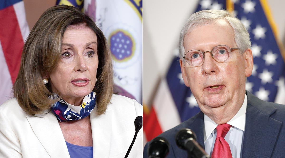 Nancy Pelosi (left) by Susan Walsh/AP; Mitch McConnell by Patrick Semansky/AP