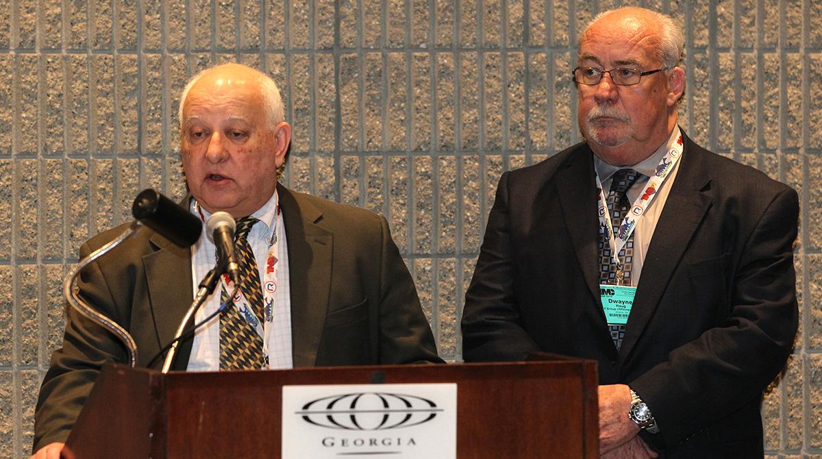 Jack Legler of TMC (left), Dwayne Haug of PIT Group