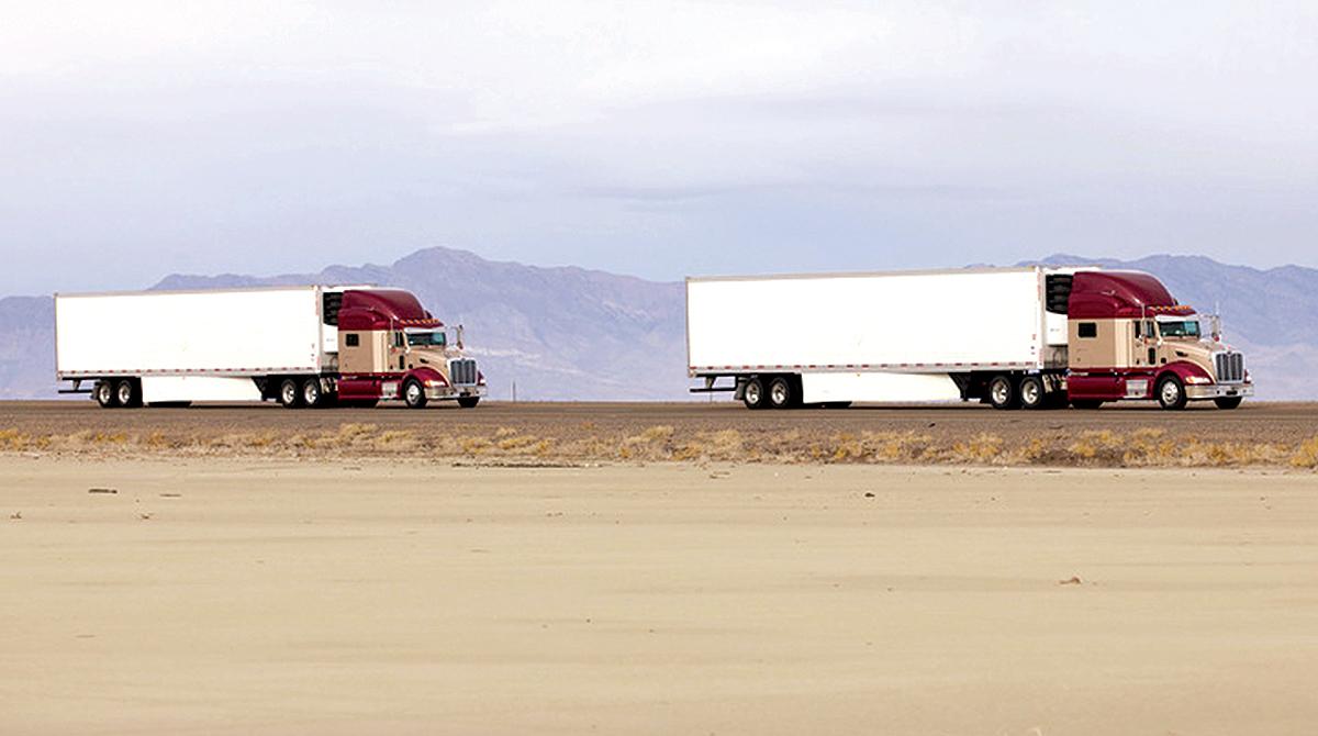 Two trucks platooning