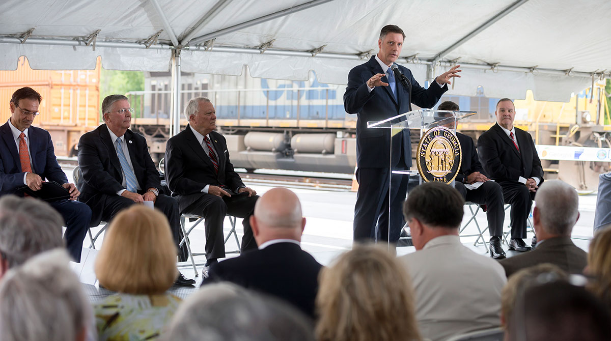 Georgia Ports Authority Executive Director Griff Lynch opens the ribbon cutting ceremony for the Appalachian Regional Port