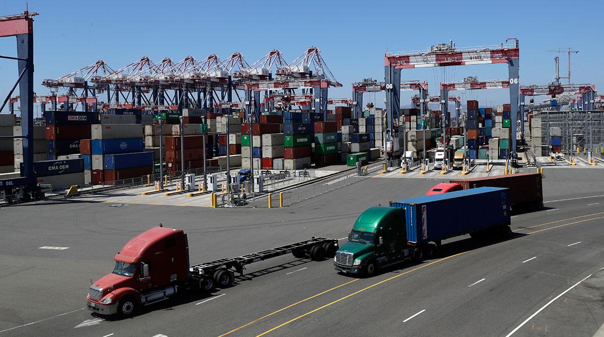 Trucks at the Port of Long Beach