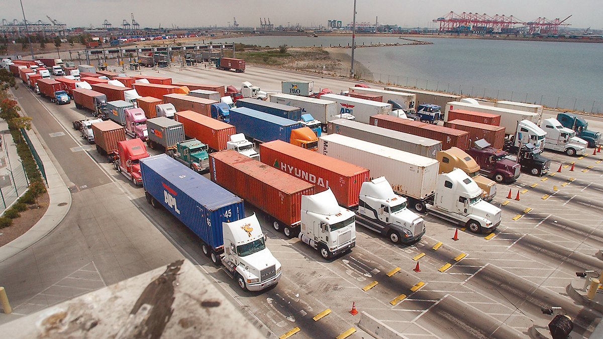 Trucks at the Port of Long Beach, Calif.