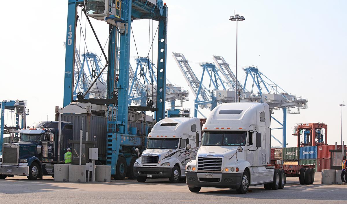 Trucks at the Port of Virginia