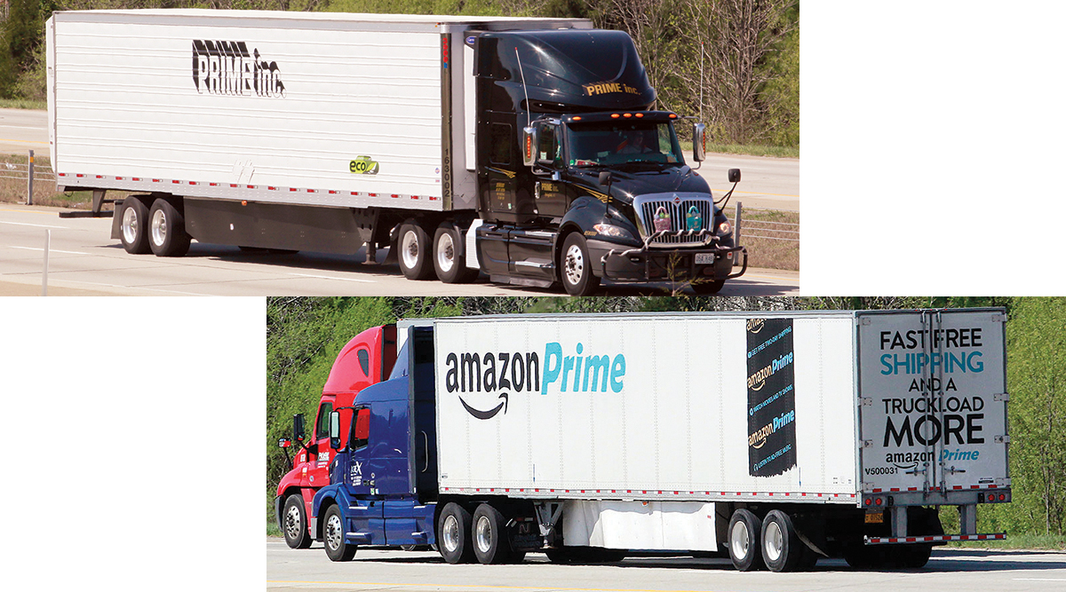 Trucks showing Prime Inc. and Amazon Prime logos