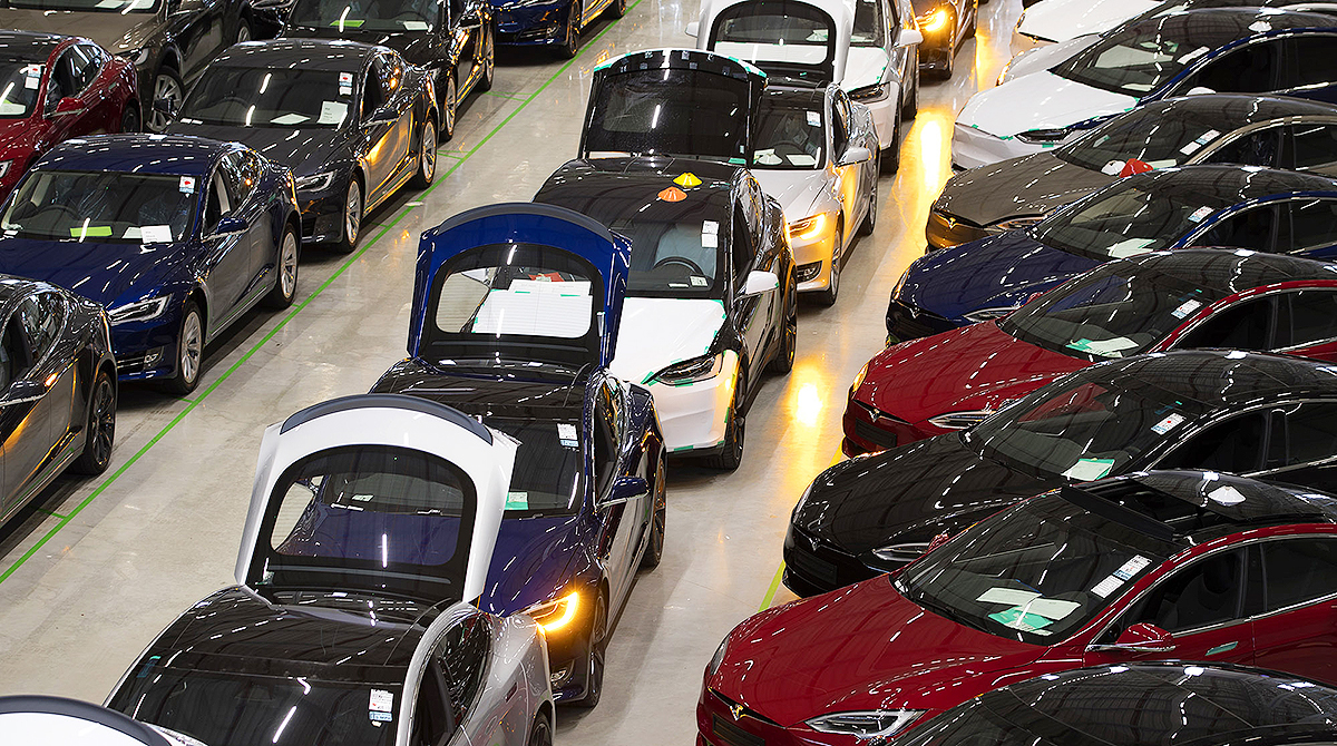 Tesla cars and SUVs in a production line