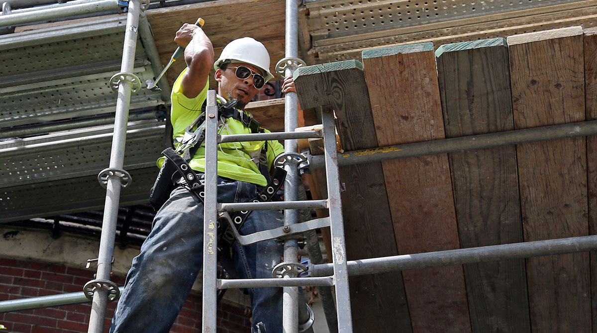 Construction worker in Boston