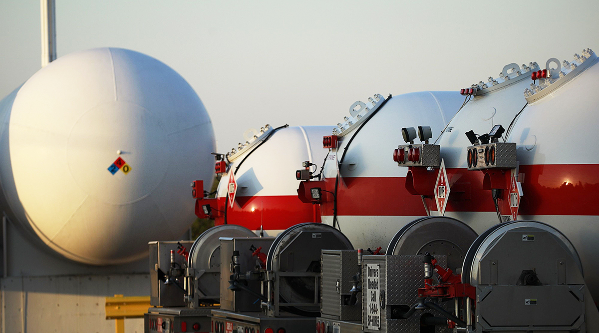 Propane delivery trucks at a Suburban Propane Partners location in Jeffersonville, Ind.