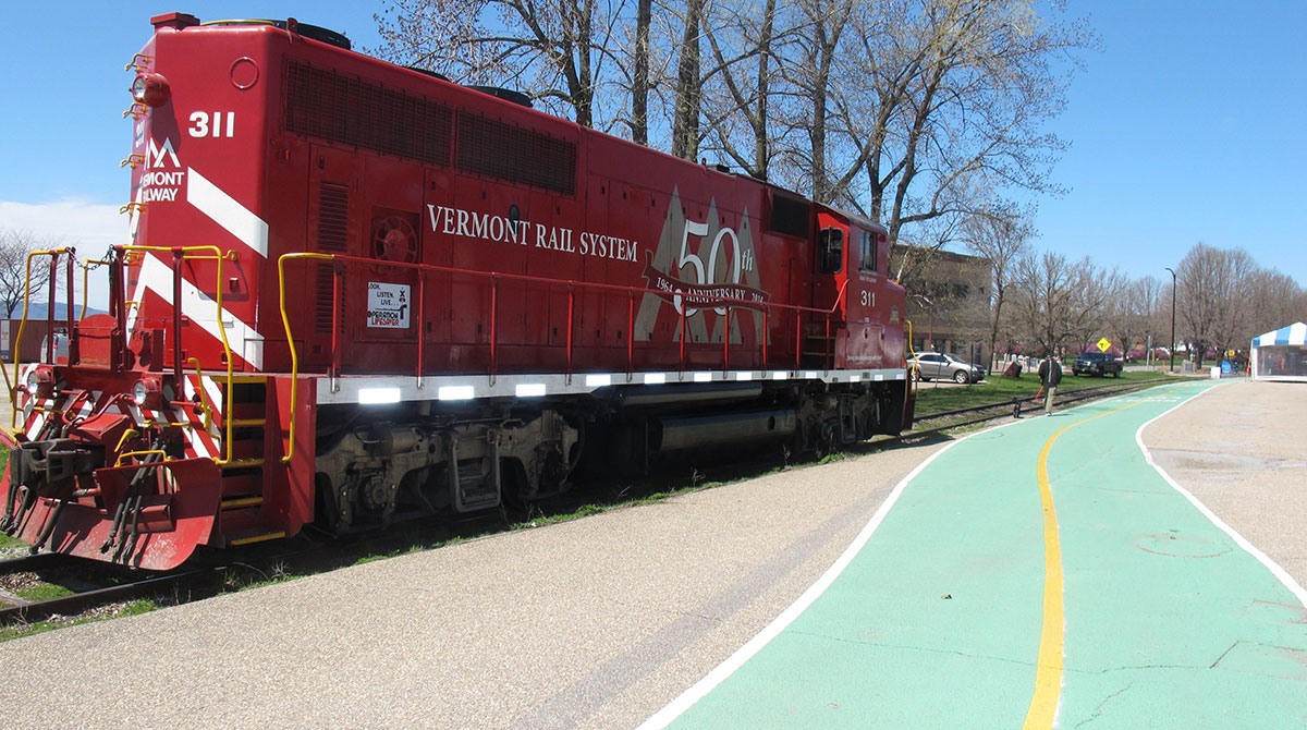 A locomotive stopped in Burlington, Vt.