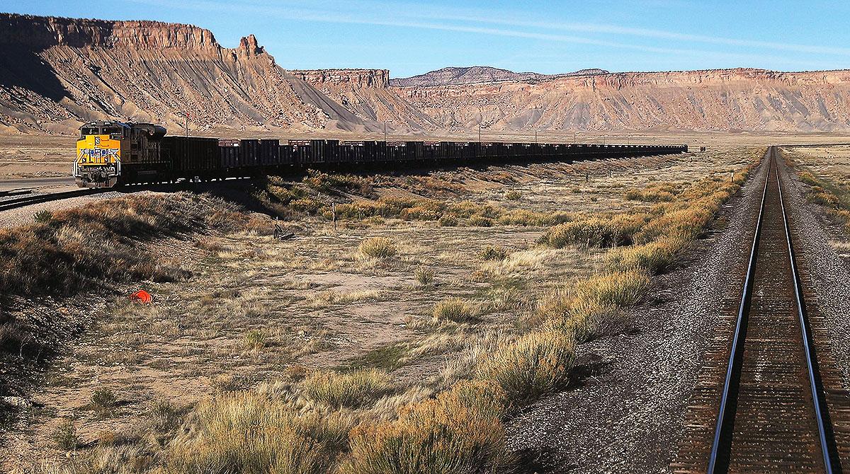 Amtrak's California Zephyr passes a Union Pacific train