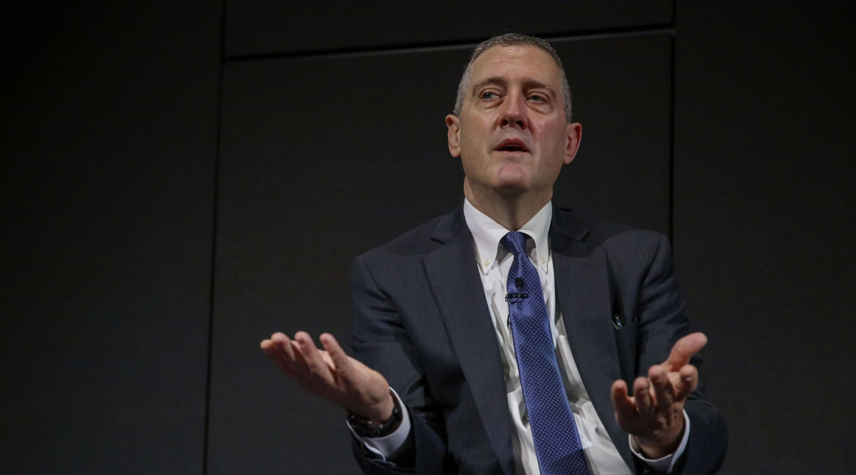 James Bullard, president and CEO of the Federal Reserve of St. Louis, gestures during a conference in October 2019.