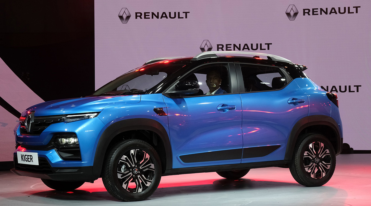 A Renault Kiger sports utility vehicle