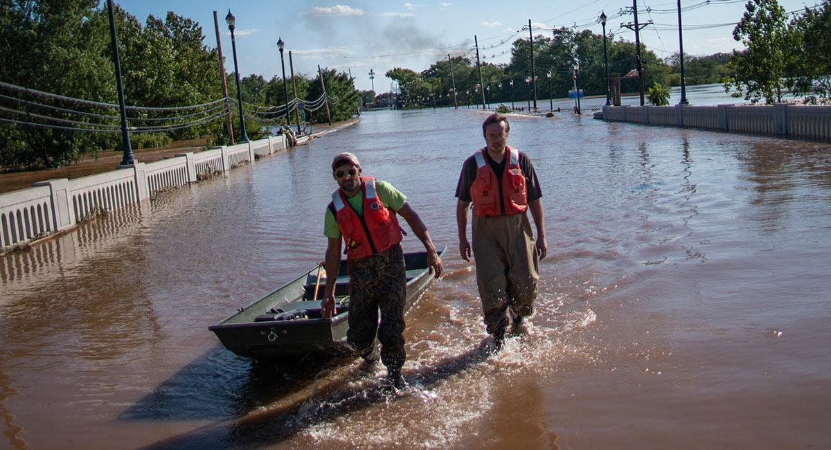 Flooded street in NJ