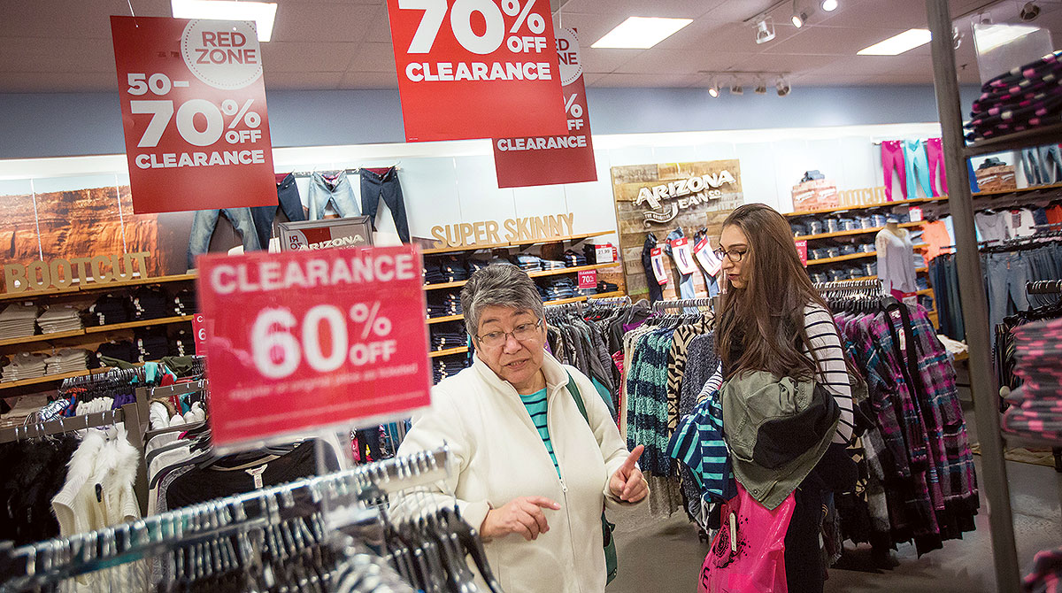 Shoppers in retail store