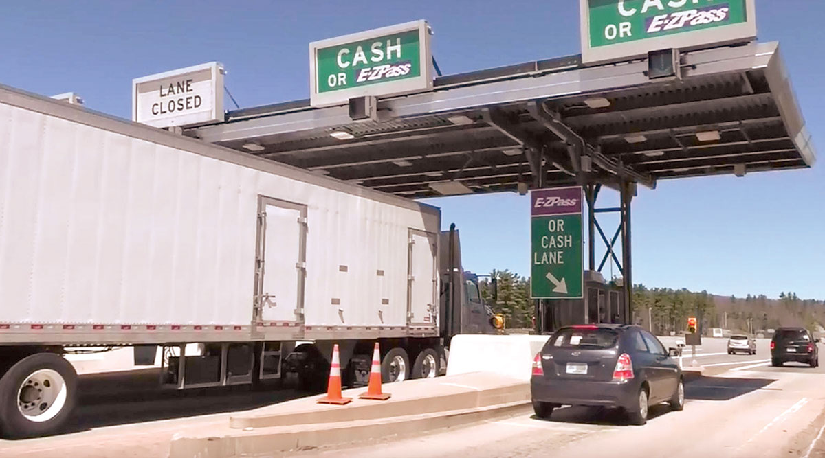 Truck at a Rhode Island toll booth
