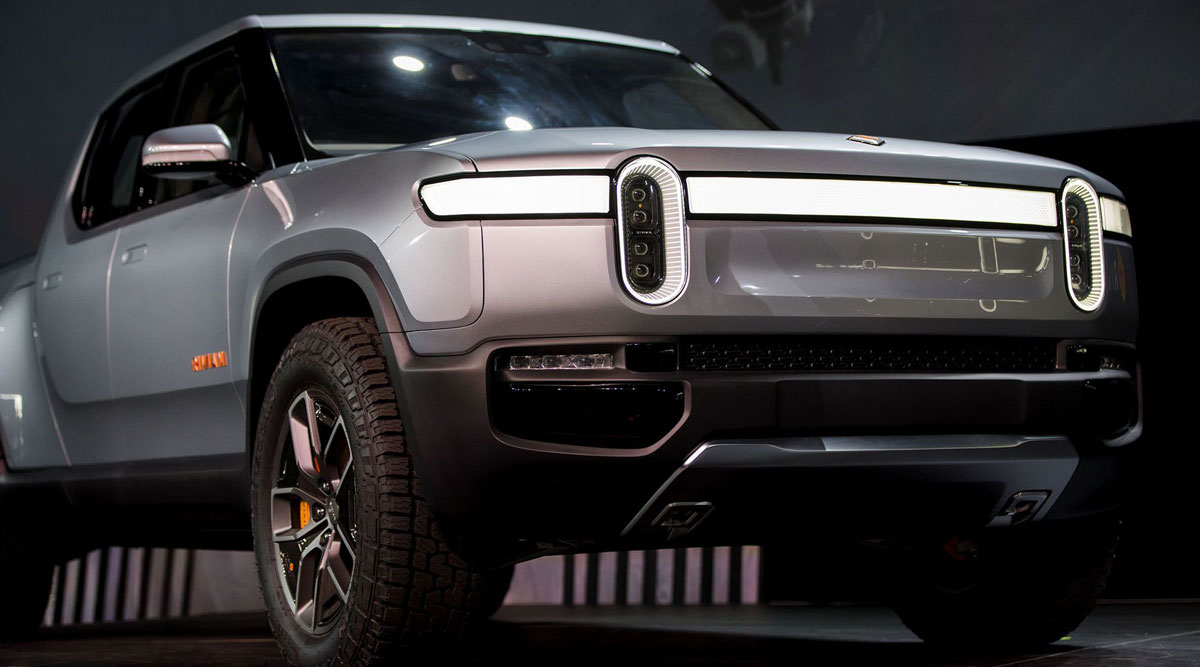 The Rivian R1T electric pickup truck.