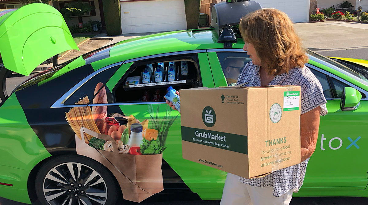 Self-driving car delivers groceries