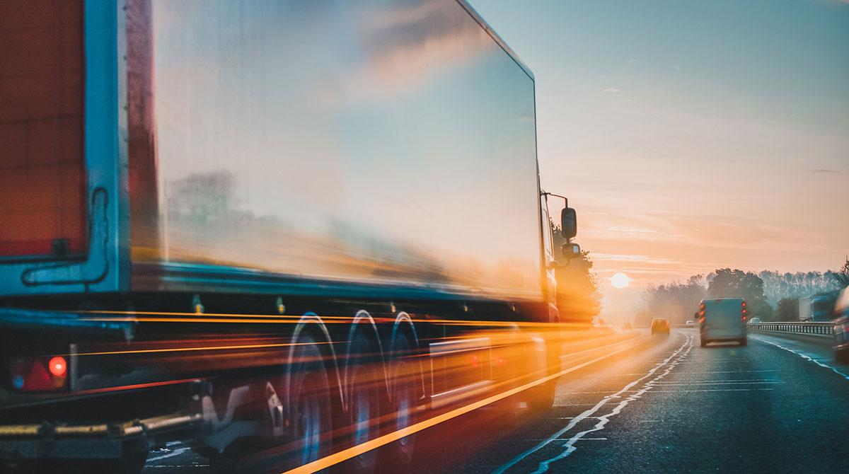 speeding truck and car