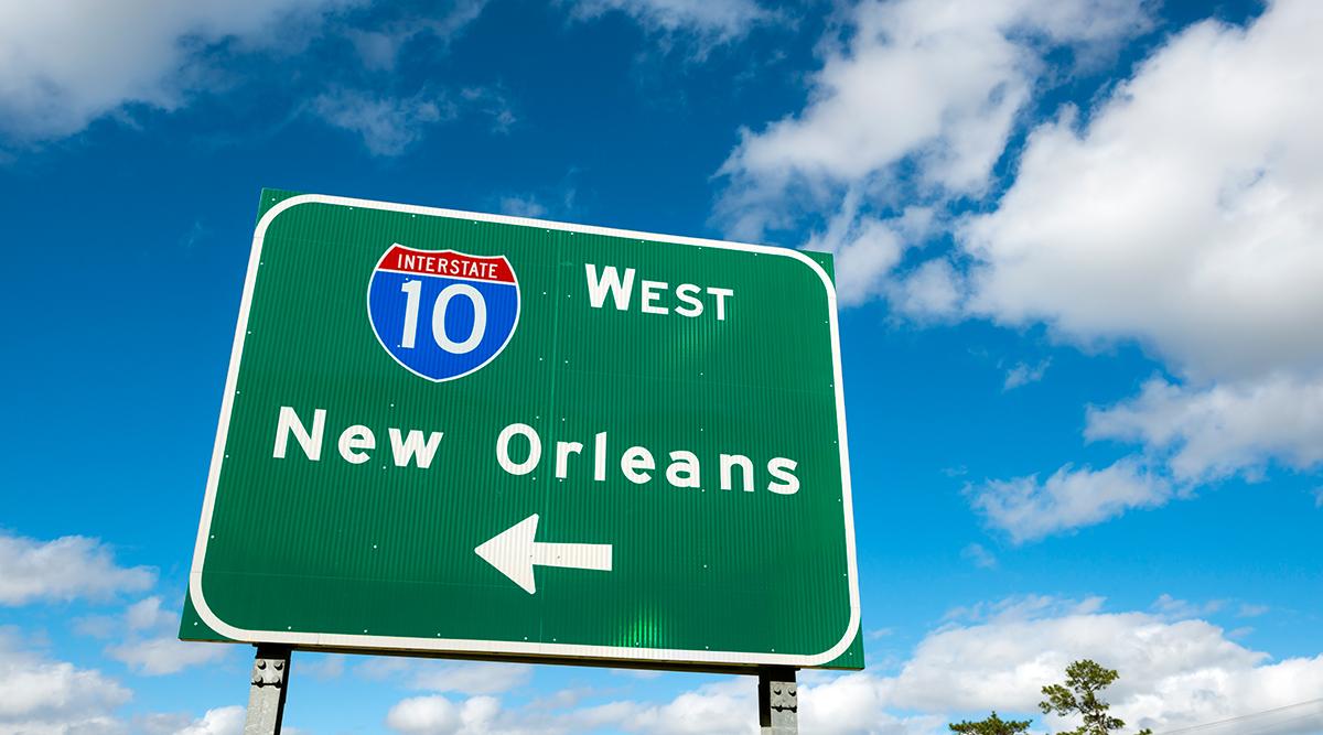 Interstate 10 sign in Louisiana