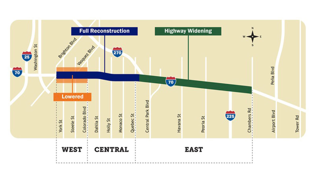 Map of Central 70 Project in Colorado