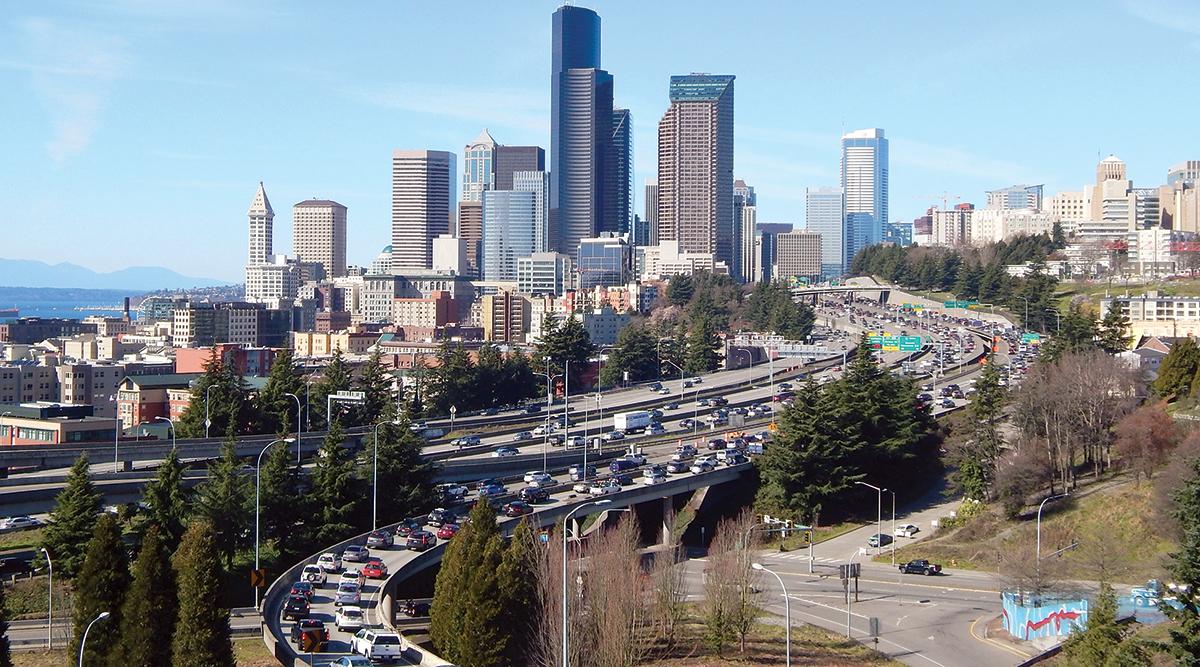 Traffic around downtown Seattle