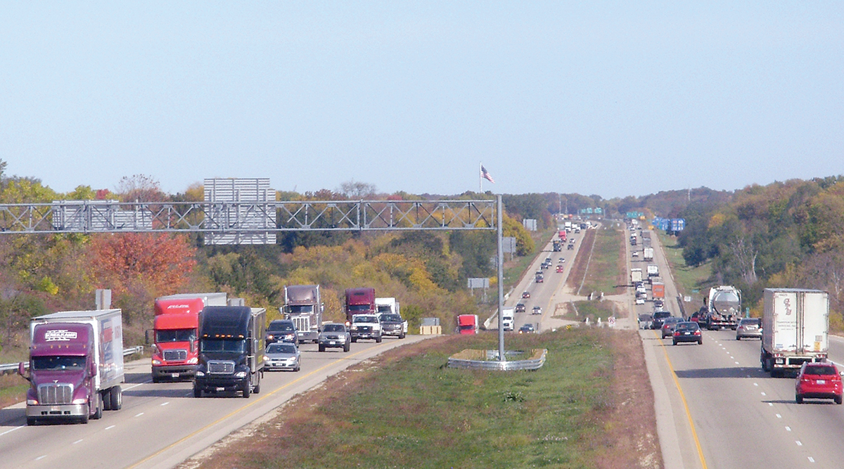 Trucks travel on Interstate 39/90 between Madison and Beloit in south-central Wisconsin