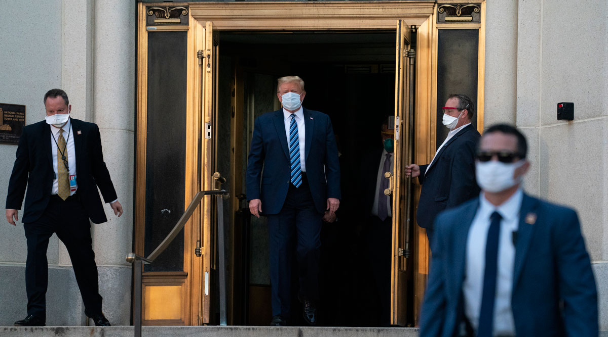 President Trump walks out of Walter Reed National Military Medical Center on Oct. 5.