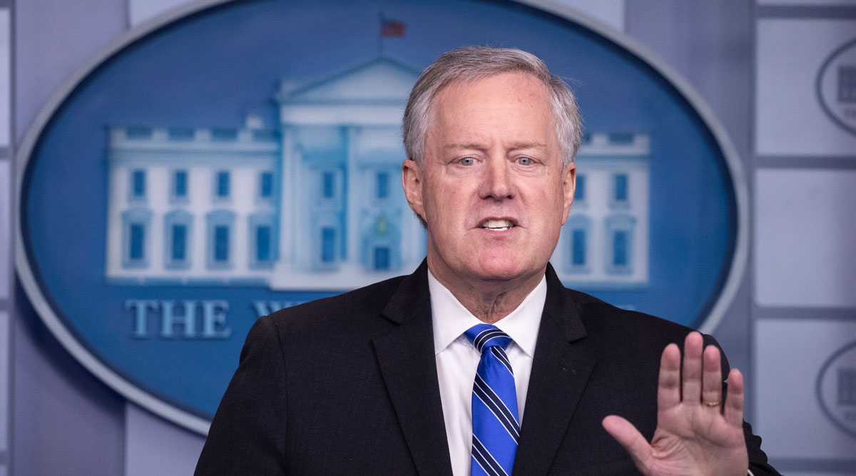 White House Chief of Staff Mark Meadows speaks during a press briefing.