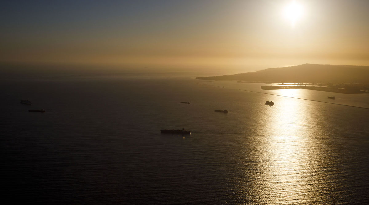 Oil tankers are seen anchored in the Pacific Ocean above Long Beach, Calif., on May 1.