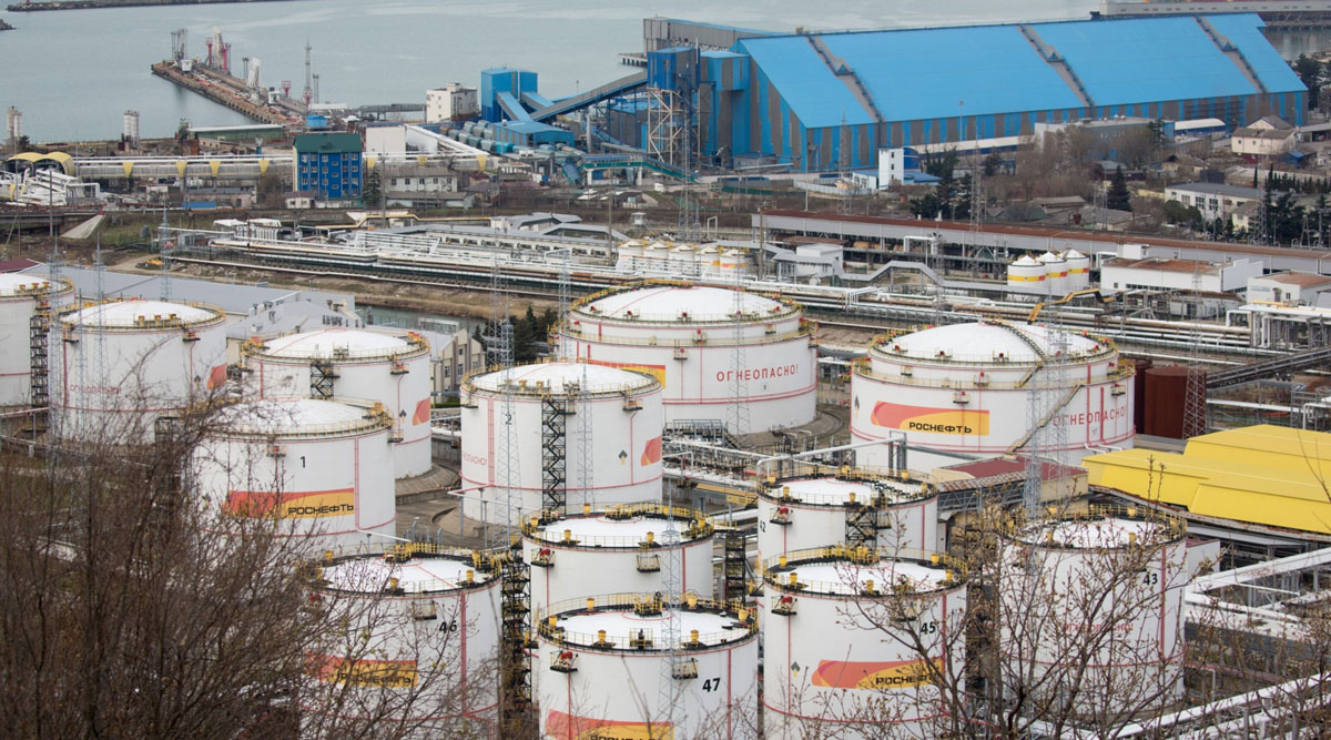 Oil storage tanks stand in Tuapse, Russia, on March 23.