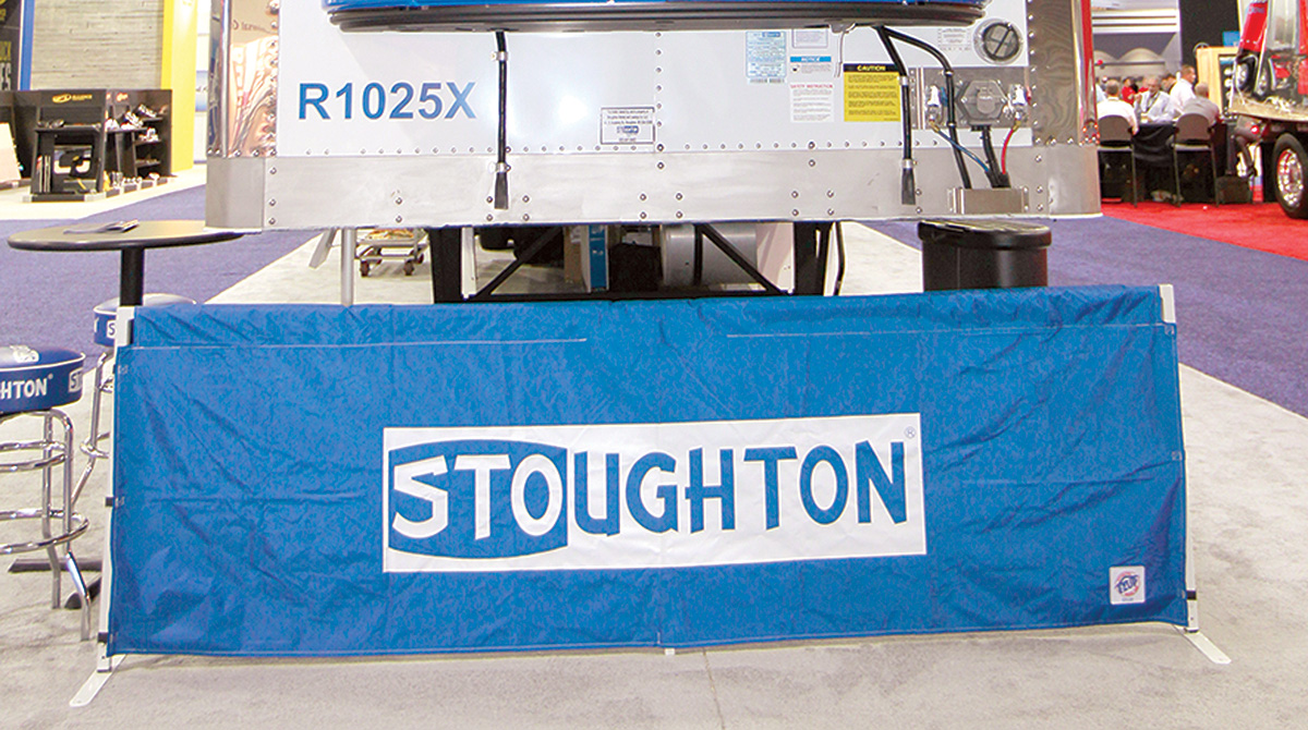 Stoughton trailer and sign at industry show