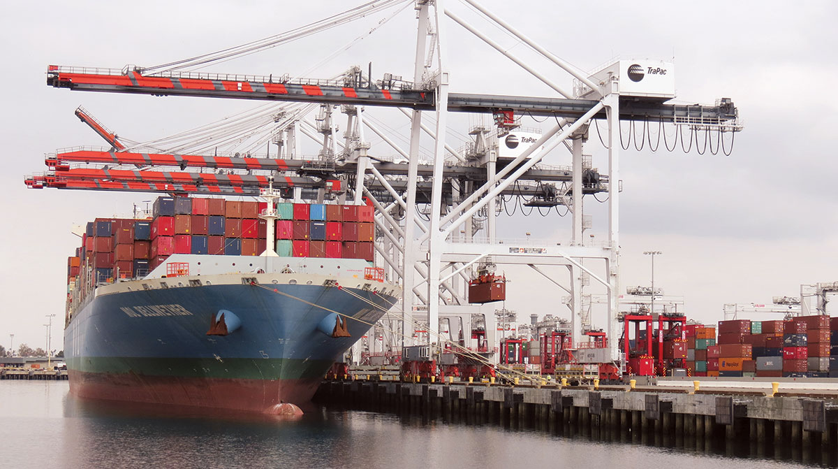 Containers unloaded at the Port of Los Angeles