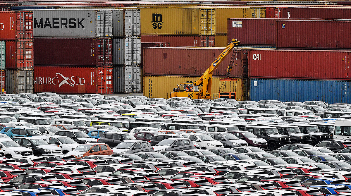 cars for import at harbor in Bremerhaven, Germany