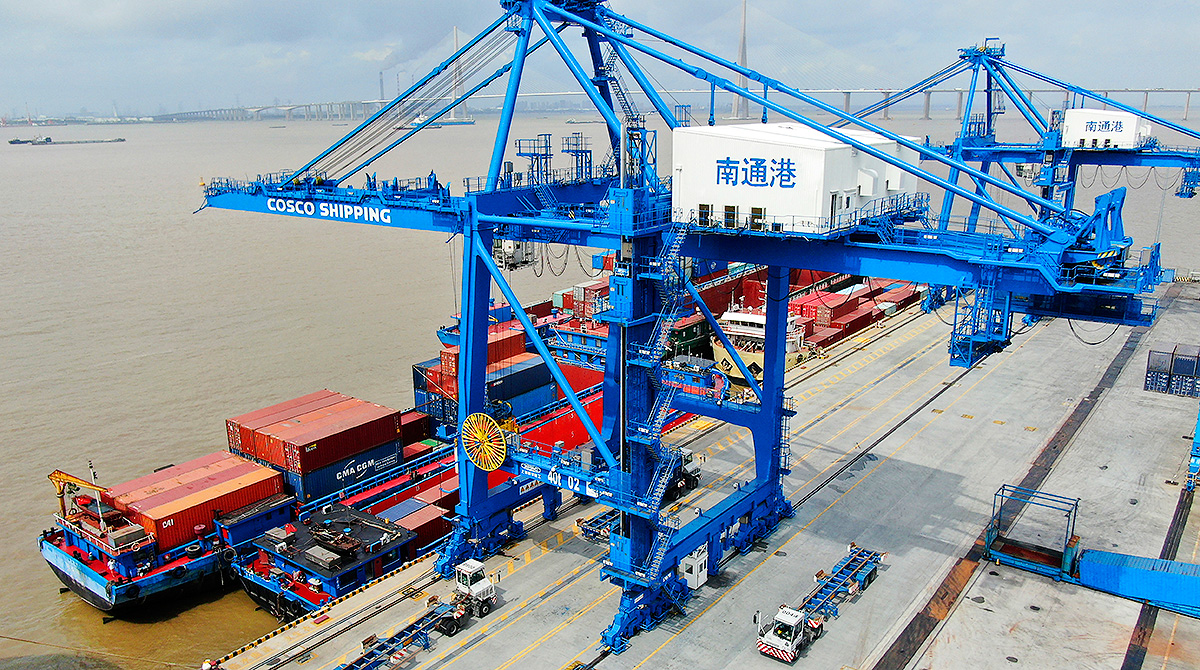 shipping containers at Nantong Port, China