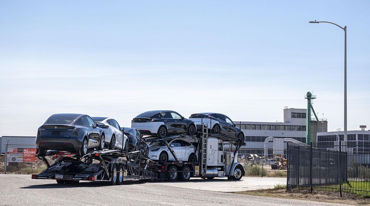 Teslas on car carrier