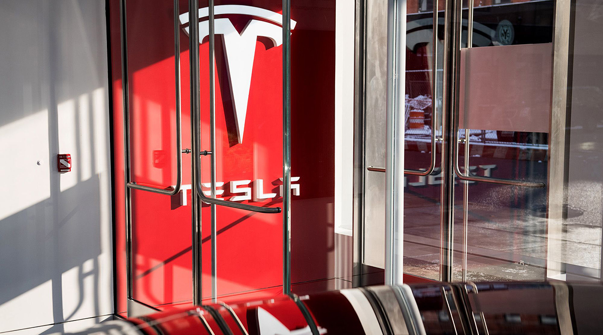 A Tesla showroom in New York
