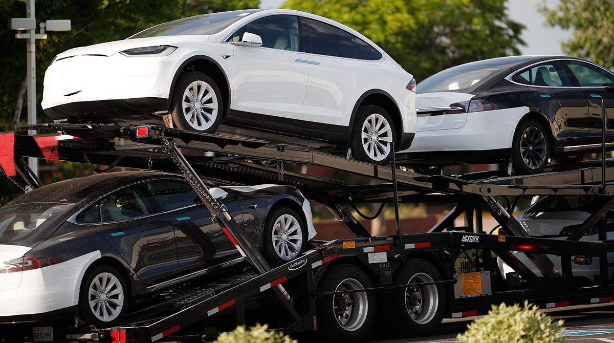 Teslas on a car carrier
