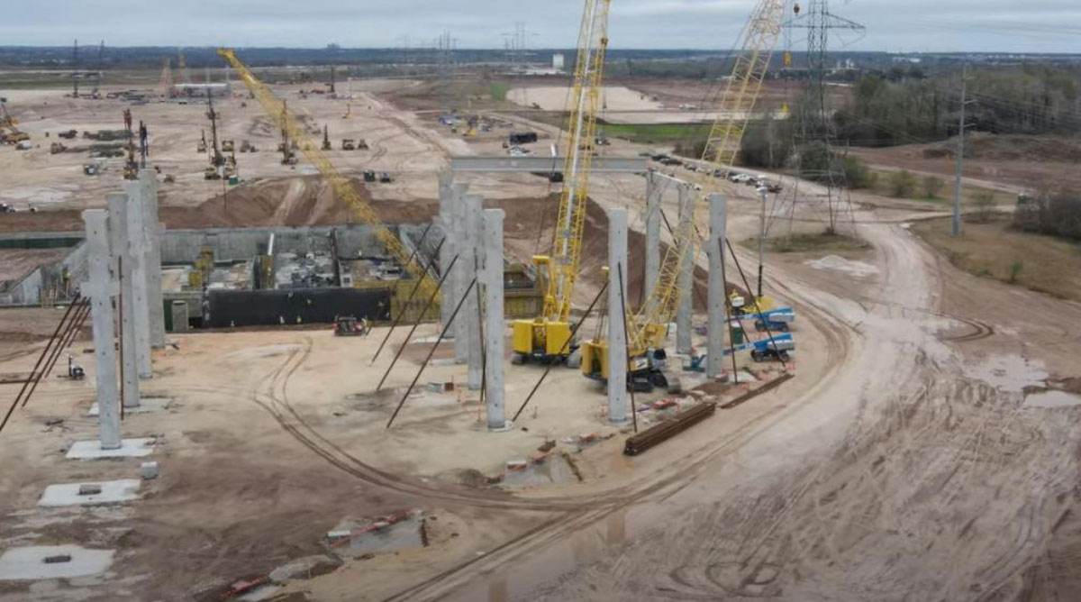 The construction site of Tesla's Texas factory is seen via drone on Nov. 29.