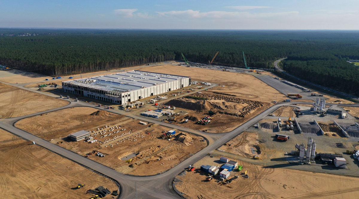 Tesla's factory stands on an area of cleared forest in Gruenheide, Germany, on Sept. 20.