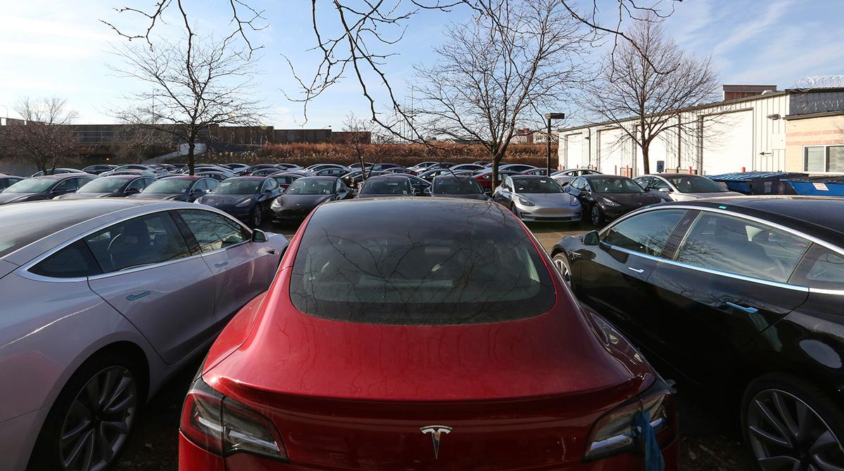 Tesla sales lot in Chicago