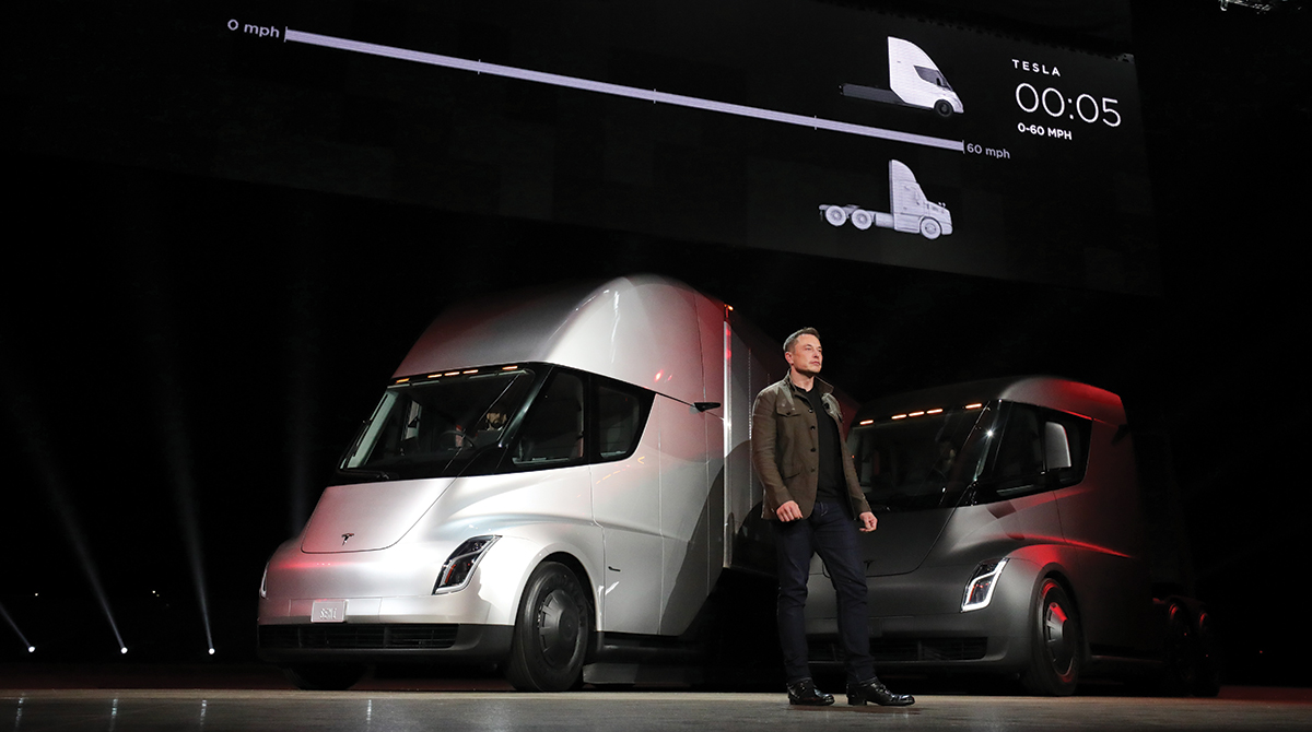 Tesla CEO Elon Musk with Semi electric truck