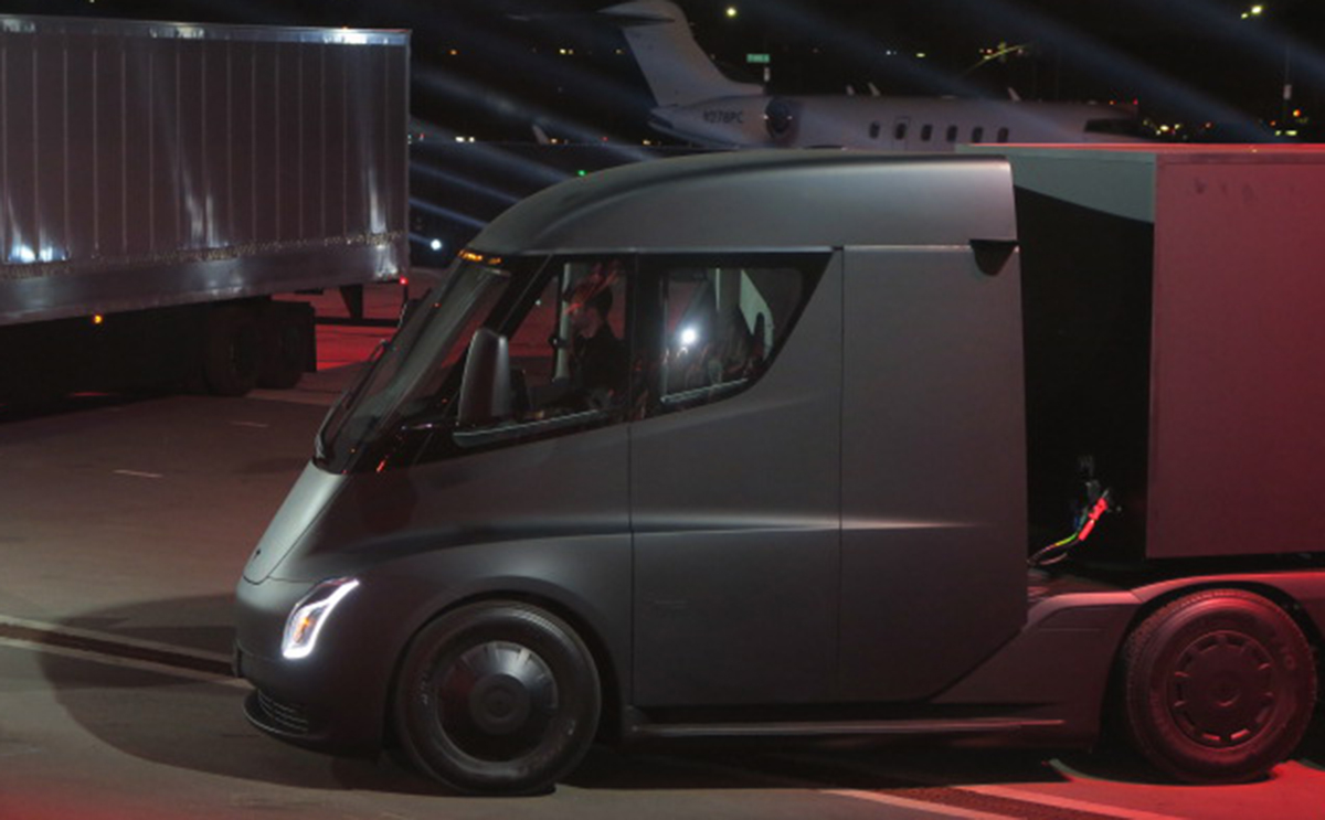 A side view of the Tesla Semi