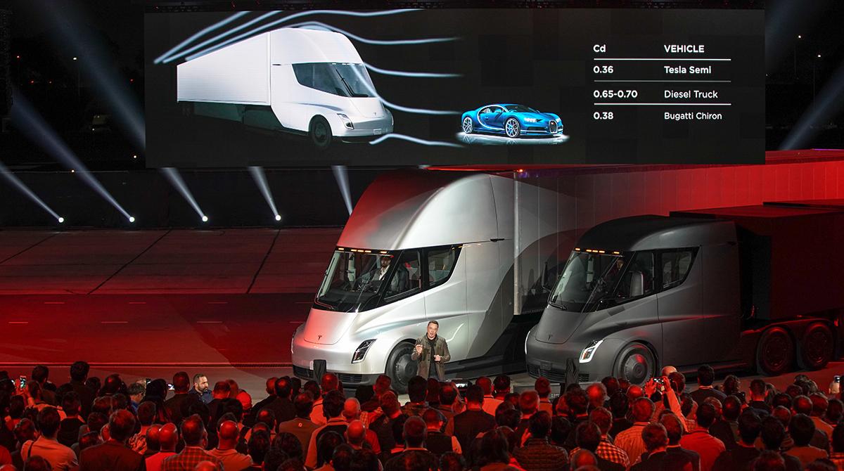 Tesla Elon Musk Unveil Electric Semi Truck