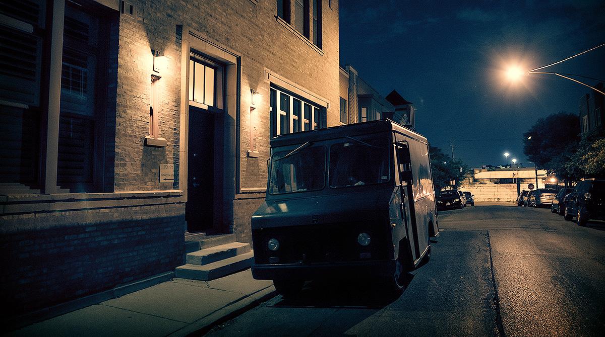 Truck parked on dark street