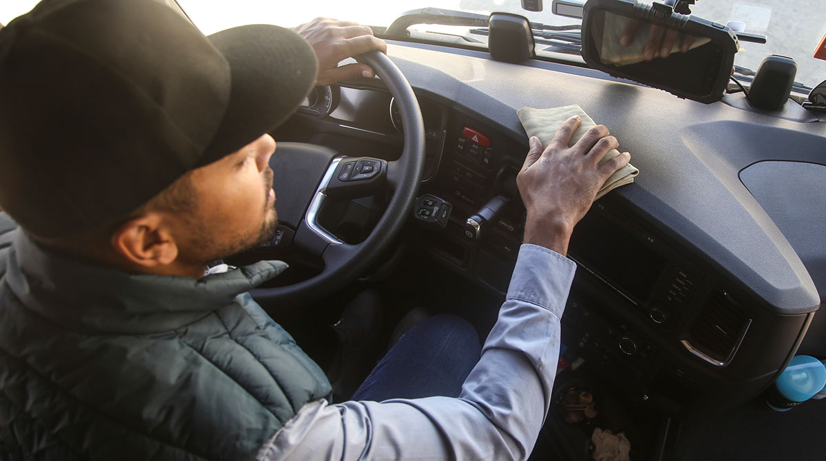 Trucker cleans cab