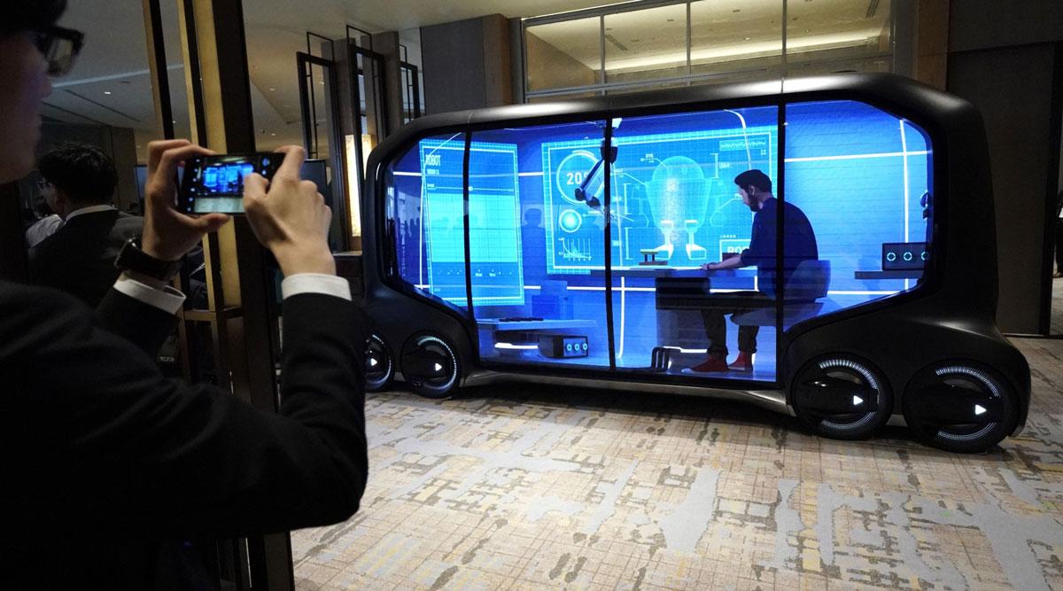 A Toyota e-Palette concept vehicle. (Toru Hanai/Bloomberg News)