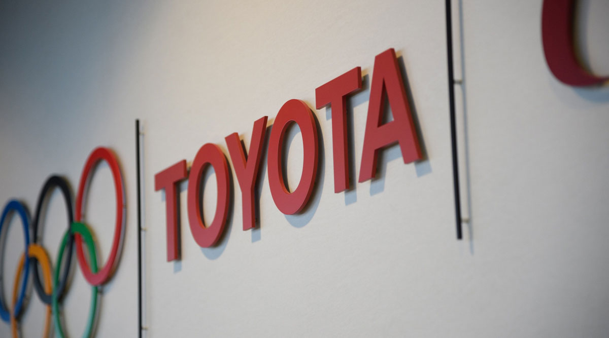 Toyota logo at the company's headquarters in Toyota City, Japan.